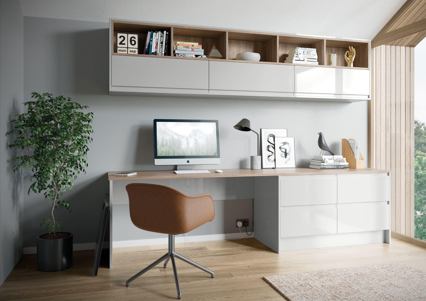 Strada Gloss Light Grey Home Office