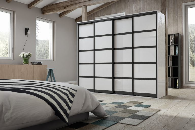black and pure white sliding robes